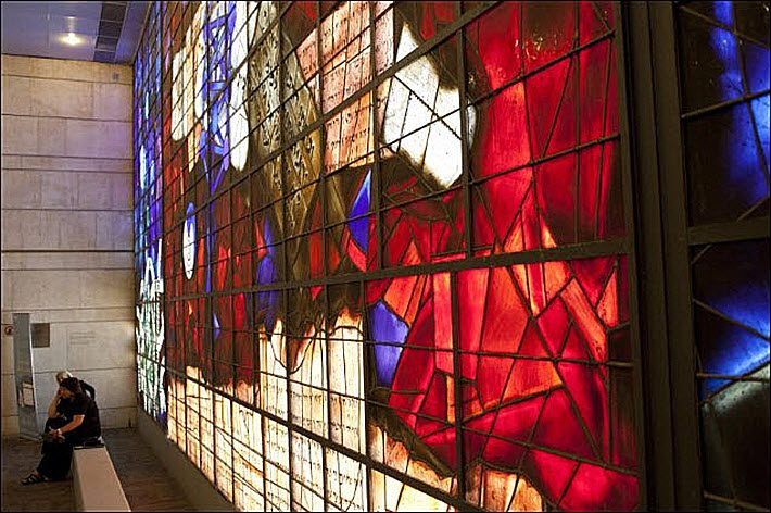 The Mordecai Ardon Windows at the National Library of Israel. Image: NLI