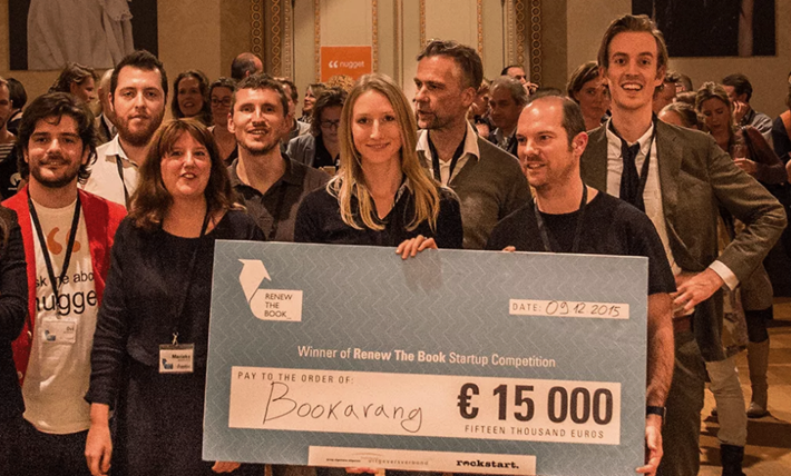 Members of the winning startup team (Bookerang.com) and other participants in The Netherlands' first Renew the Book program. Image: RenewTheBook.com