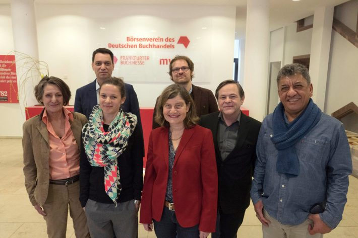 The 2016 German Book Prize jury comprises, from left, Sabine Vogel, Cristoph Schröder, Lena Bopp, Susanne Jäggi, Thomas Andre, Berthold Franke, Najem Wali. Image: Claus Setzer