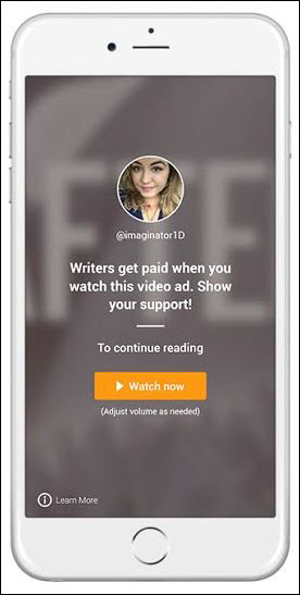 This illustration shows Wattpad Star author Anna Todd (@imaginator1D) in an invitation offering an advertiser's video to readers, in the new Wattpad Futures program.