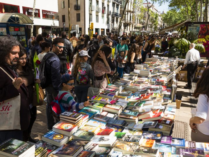 In Las Ramblas, Barcelona, in April: Saint George's Day is when men give roses to women, and women give books to men. Image - iStockphoto: Jordi Delgado