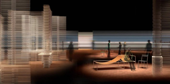 A model of the Guest of Honor Pavilion design coming to Frankfurt Book Fair for the Flanders/Netherlands events in the Forum. Image: Provided by Frankfurter Buchmesse