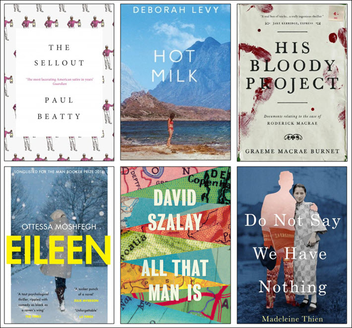 The six shortlisted titles of the 2016 Man Booker Prize. The winner is to be announced October 25.