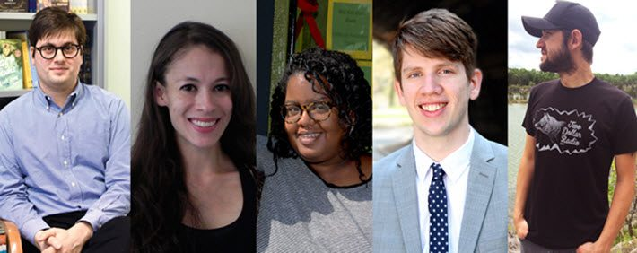 The PW Star Watch finalists for 2016 are, from left, Noah Eaker, Vida Engstrand, Wintaye Gebru, Andrew Harwell, and Eric Obernauf. Image: Publishers Weekly