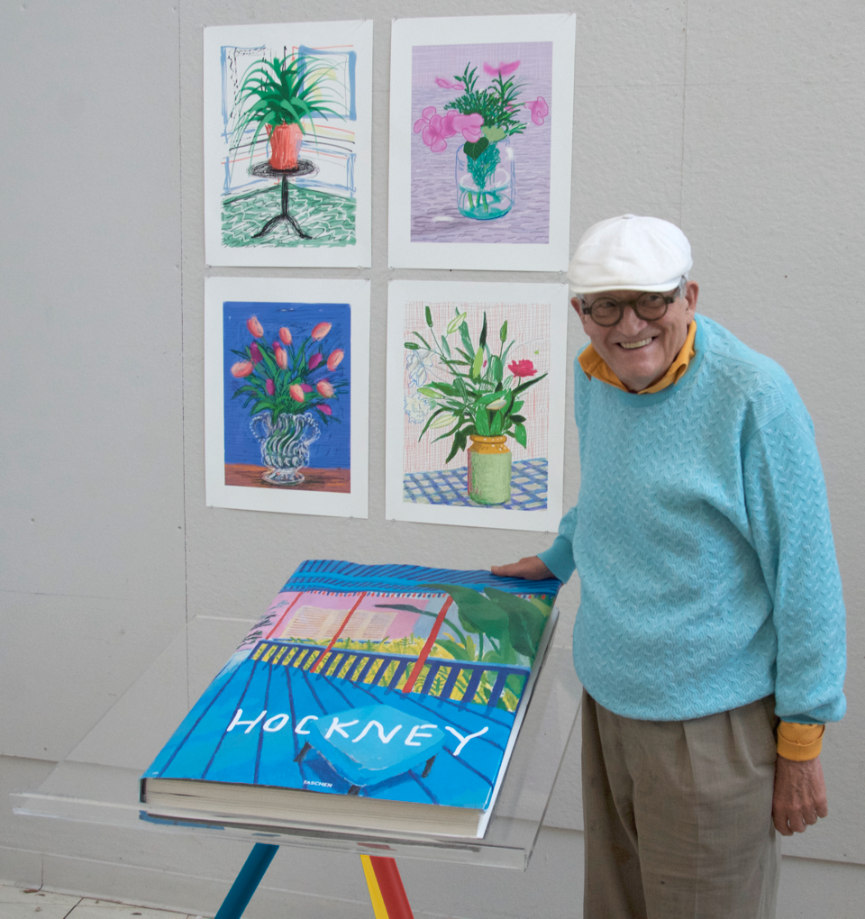David Hockney with Taschen's 'A Bigger Book.' Image provided by Frankfurter Buchmesse