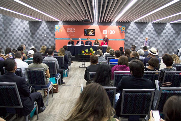 Guadalajara International Book Fair representatives conduct a news conference to announce details of the November 26 to December 4 event.
