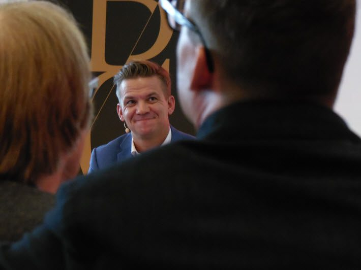 Bonnier Books' Jacob Dalborg responds Wednesday to questions from the press. Image: Porter Anderson