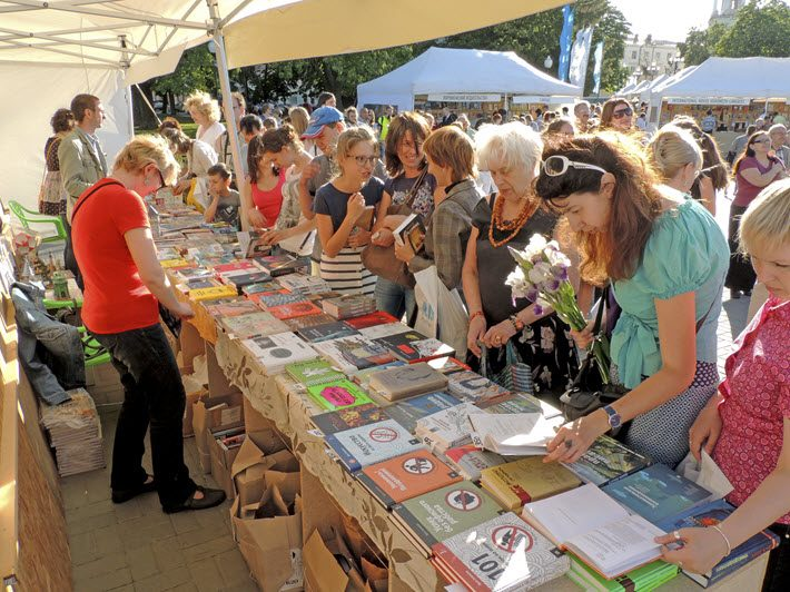 Newly published titles on offer at a town-square book fair in Voronezh.