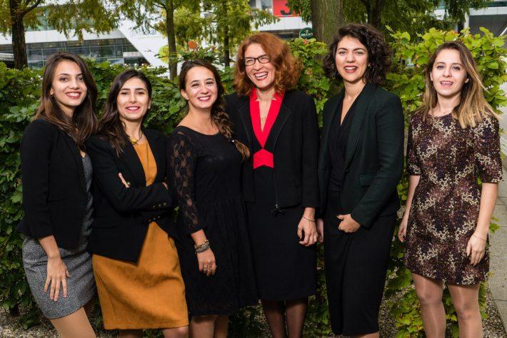 Kalem Agency in Frankfurt, left to right: Hazal Baydur, Göksun Bayraktar, Nazlı Gürkaş, Nermin Mollaoğlu, Sedef İlgiç, Gizem Özgüven
