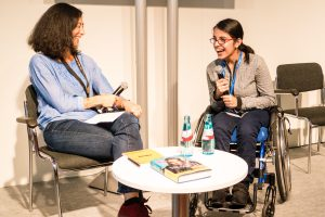 Olivia Snaije interviews author Nujeen Mustafa on Thursday at the Publishing Perspectives Stage