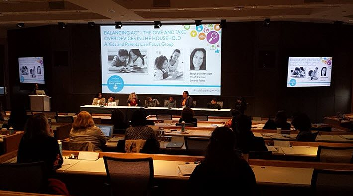 At Nielsen's Children's Book Summit, Stephanie Retblatt of Smarty Pants, a family research company, leads a panel of children and their mothers on issues of device usage in the home. Image: Porter Anderson