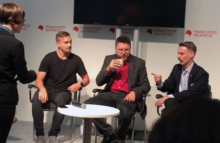 Ryan David Mullins (oolipo), Michael Bhaskar (Canelo), and Will Evans (Cinestate) speak on the Publishing Perspectives Stage at the 2016 Frankfurt Book Fair.