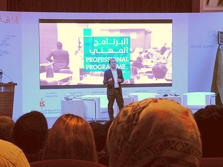 Google Play's European and Middle East chief of strategic product partnerships Alexander Bregman speaks at Sharjah's Professional Program. Image: Porter Anderson