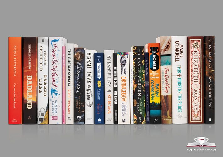 The Costa Book Awards' five shortlists comprise these 20 titles, four each in categories of Novel, First Novel, Biography, Poetry, and Children's Books. Image: Costa Book Awards