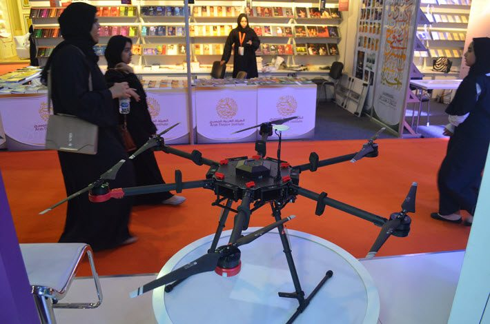 A drone of the type that might be deployed by Dubai's libraries is on the Dubai Cultures stand at Sharjah International Book Fair. Image: Roger Tagholm