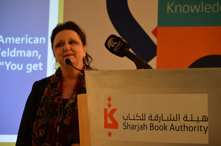 The American Library Association's Julie Todaro speaks at Sharjah International Book Fair. Image: Roger Tagholm