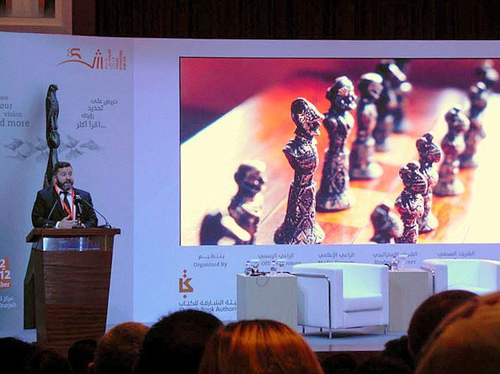 Kobo CEO Michael Tamblyn speaks at Sharjah International Book Fair's Professional Program on Monday (October 31). Image: Porter Anderson