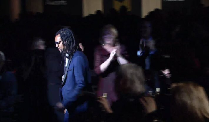 Author Colson Whitehead walks to the podium to accept the National Book Award for his novel, 'The Underground Railroad'