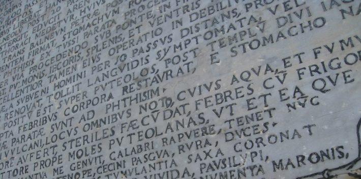 Virgil tomb inscription (Image: Schoen at English Wikipedia)