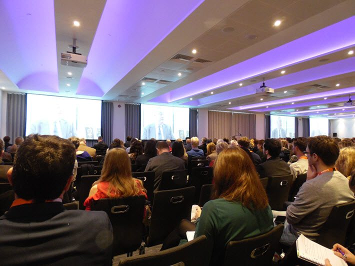 The FutureBook Conference's morning plenary watches a video with Tim Hely Hutchinson on not jumping at all that glitters-digital. Image: Porter Anderson