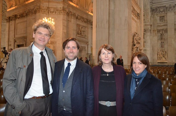 From left, Paddington film production team members Simon Farnaby, Paul King, Rosie Alison, and Alex Derbyshire. Image: Roger Tagholm