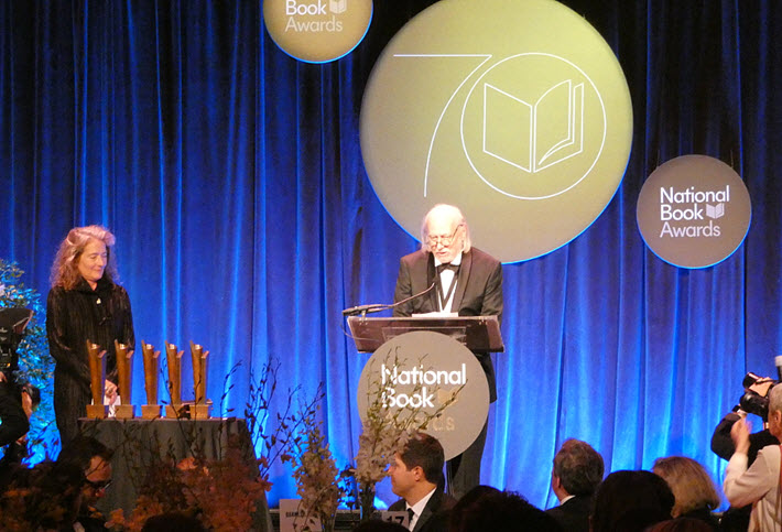 László Krasznahorkai accepts the 2019 National Book Award
