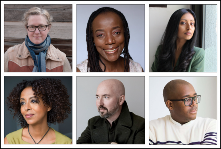 The shortlisted 2020 Booker Prize for Fiction authors. Top row, from left, Diane Cook (image: Katherine Rondina); Tsitsi Dangarembga (image: Hannah Mentz); and Avni Doshi (image: Sharon Haridas). Lower row, from left, Maaza Mengiste; Douglas Stuart (image: Clive Smith); and Brandon Taylor (image: Bill Adams)