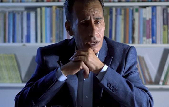 Jalal Barjas in the digital announcement of his win of the International Prize for Arabic Fiction